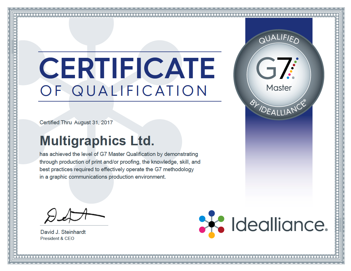 Multigraphics is G7 Certified