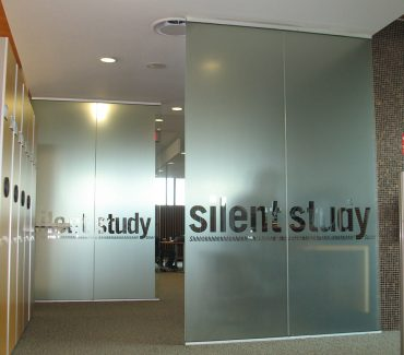 Fasara vinyl cut lettering on glass partitions