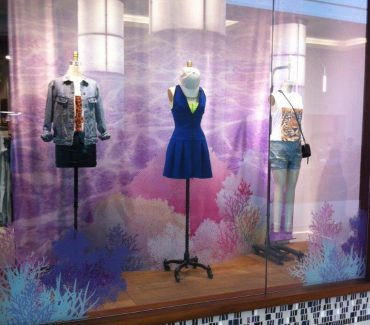 Summer 2013 Window Displays - backdrop - acrylic stands - window cling
